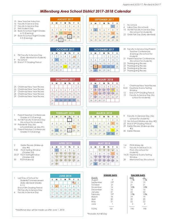 2017-2018 School Calendar Now Available