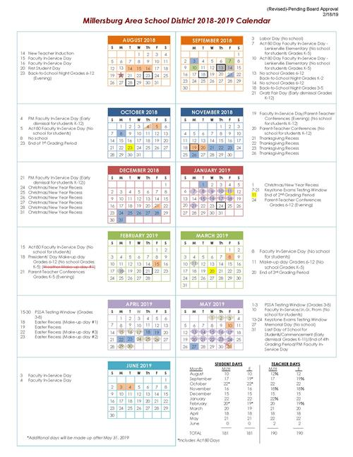 2018-2019 and 2019-2020 School Calendars Now Available