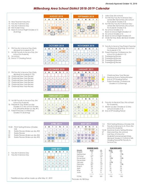 2018-2019 Revised School Calendar Now Available