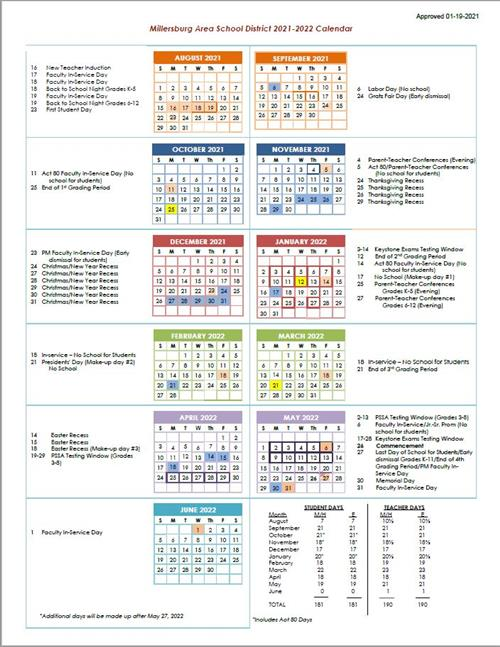 Millersburg Area School District Releases Approved 2021-2022 School Calendar