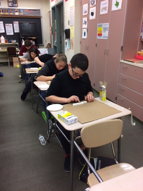 Middle School Students Students In Mrs. Kirkwood's Sixth Grade Class Using STEM Concepts From Math And Science To Build Pyramids Out Of Sugar Cubes