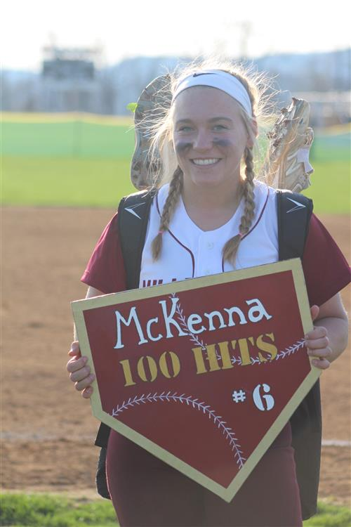 Congratulations To McKenna Border For Reaching 100 Registered Hits In Softball