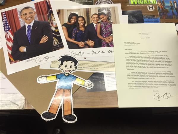 The President Of The United States participates in Mrs. Steffen's Flat Stanley Project!