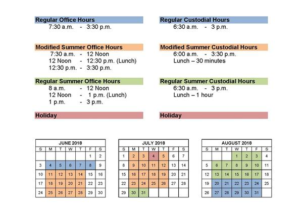 Summer Office Hours Posted for School Offices, Business Office and District Office