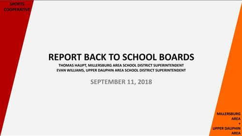 "Sports Cooperative Presentation ""Report Back To School Boards"""