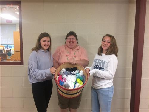 Middle School Student Council Donates Socks To Bethesda Mission