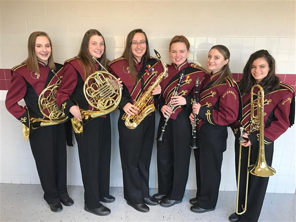 Congratulations to High School musicians Hannah C., horn; Montana B., horn; Cassidy P., alto saxophone; Anya W., clarinet;  Kailyn P., clarinet, and Lexi L., trombone. 2017 Dauphin Co. Band