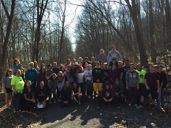 (AMERICAN HEART ASSOCIATION) AHA WALK - April 15 - 64 students from Fitness & Wellness and Health Classes and staff members walked from the High School to the end of the Lykens Rail Trail and back to school.