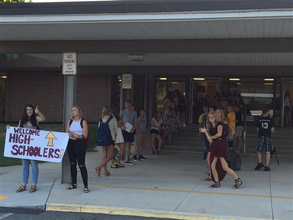 FIRST DAY OF SCHOOL - Members of Student Council welcome MS And HS students back to the new school year!