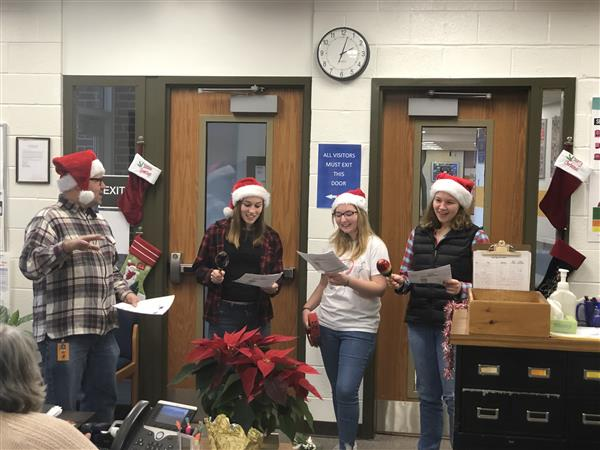HOLIDAY CAROLING: Mr. Rice's Spanish students help everyone get into the Holiday Spirit!