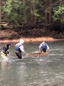 SELECT TROUT WATERS - Members of Conservation Club assisted the PA Fish & Boating Commission to stock trout in the Wiconisco Creek on March 3, 2020