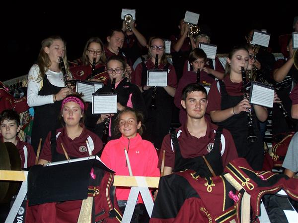 Middle School students enjoy playing with the HS Marching Band on 10/20/17