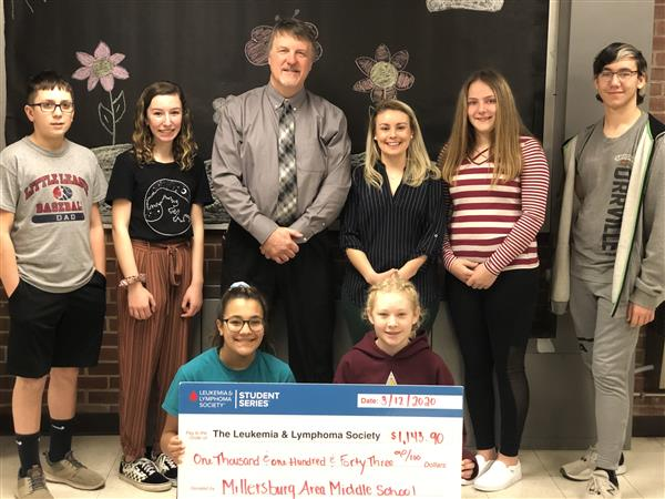 CONGRATULATIONS! - The Middle School Student Council recently held a Penny War to help raise awareness for the Leukemia/Lymphoma Society of Pa.  The students did a fantastic job by raising $1,143!  All funds will go to helping children with these diseases